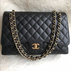 Authentic Chanel CF Maxi Single Flap Black Caviar